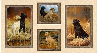 Labrador Dog Fabric  Loveable Labs  24  Fabric Panel  Quilting Treasures  Cotton • 6.44£