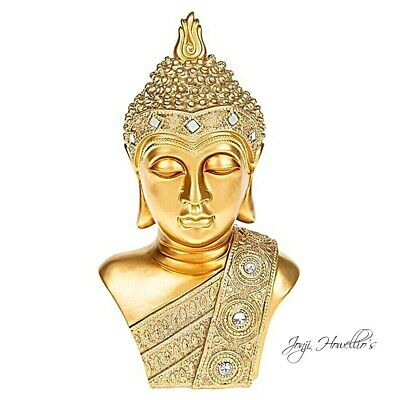 Thai Buddha Bust Ornament Meditating Figurine Statue Sculpture Gold 26 Cm  • 19.99£