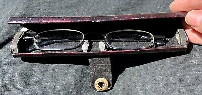 Unusual Antique Glasses Case With Glasses -  Childs? Great For Display Opticians • 3£