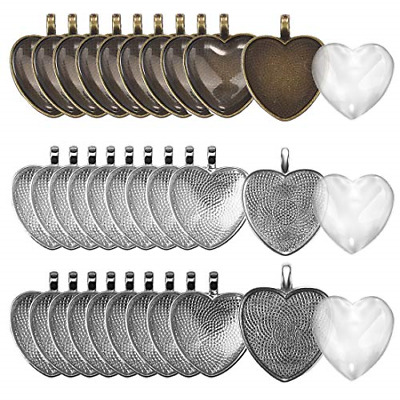 OBSEDE 60Pcs Cameo Pendant Trays Settings-Heart Bezel Blank Tray 30pcs With Dome • 15.87£
