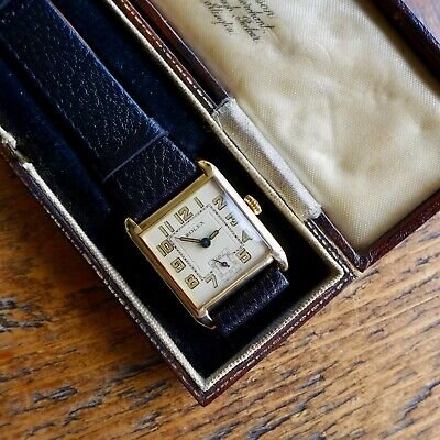 A STUNNING GENTS VINTAGE 1920s ROLEX 9ct SOLID GOLD  TANK  SHAPE WRISTWATCH • 620£
