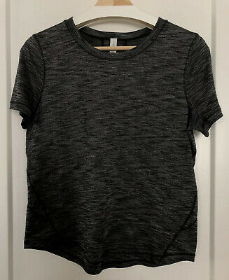 $ CDN20 • Buy Lululemon Women's Shirt Sz 6 Long Distance SS Short Sleeve HBLK Heathered Black