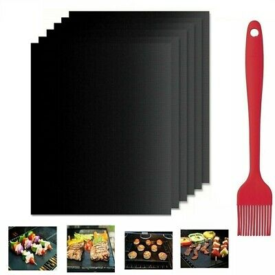 AU14.99 • Buy 6x BBQ Grill Mats Reusable Baking Cooking Sheet Non-Stick Teflon Barbecue Pad AU