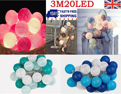 UK Plug In 3M Home Lights String Fairy 20 Mix Colour LED Cotton Globe Ball • 7.75£