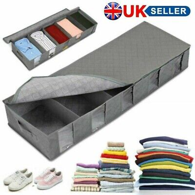 New Large Capacity Under Bed Storage Bag Box 5 Compartments Clothes Organizer UK • 8.79£