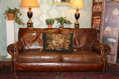 Halo Balmoral Antiqued Brown Victorian Style Leather Sofa • 1,380£
