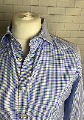 """Mark Spencer Shirt Blue 16"""" - 41"""" Slim Fit Double Cuff • 9.99£"""