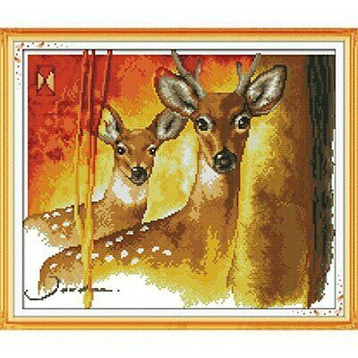 TWO DEER COUNTED CROSS STITCH KIT 14 COUNT AIDA FINISHED SIZE 41x35CM • 9.99£