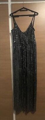 Lipsy Metallic Silver Sequin Cami Jumpsuit Size 16  • 9£