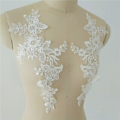£2.99 • Buy Costume Craft Lace Applique Floral Embroidery Evening Dress Wedding Motif 1 Pair
