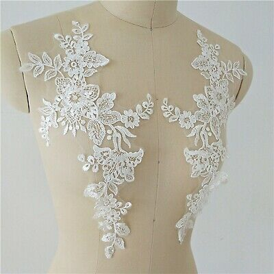 Costume Craft Lace Applique Floral Embroidery Evening Dress Wedding Motif 1 Pair • 2.99£