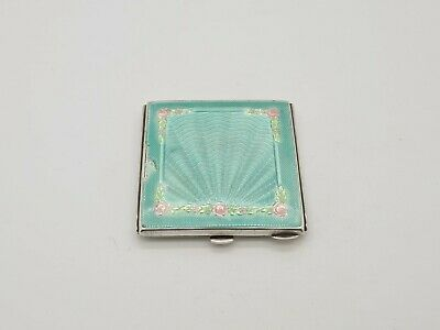 Superb Solid Silver And Guilloche Enamel Compact Broadway & Co 1938 • 58.99£