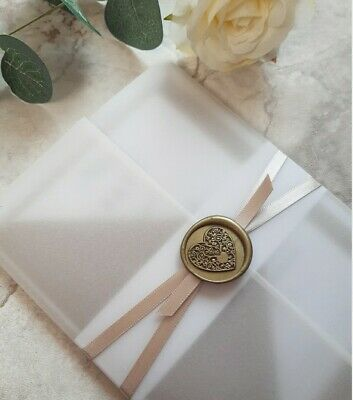 £2.99 • Buy Botantical Wax Seal And Vellum Wedding Invitation Champagne With RSVP