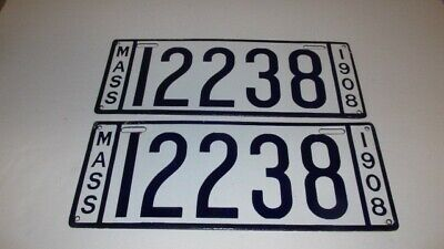 $ CDN840.04 • Buy 1908 Massachusetts Porcelain License Plate #12238 (Pair)