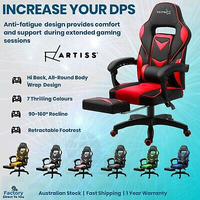 AU219.99 • Buy Gaming Chair Office Executive Racing Racer Computer Recliner Footrest PU Leather