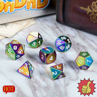 AU7.85 • Buy 7-Color DND Metal Dice Dice Set Rainbow Dice For Dungeons Gifts And Toys