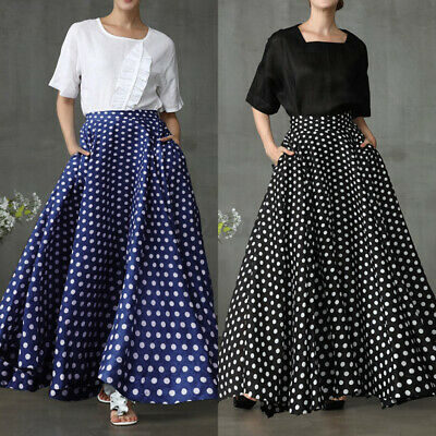 Oversize Women's Skirts Pockets Polka Dot Flare Long Dress Maxi Floor Length • 12.50£