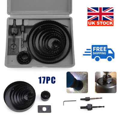 £8.79 • Buy 17HOLE SAW KIT SET 19-127mm HEAVY METAL CIRCLE CUTTER ROUND DRILL WOOD DOWNLIGHT