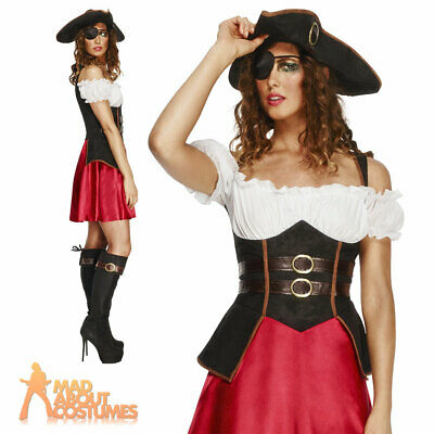 Ladies Sexy Pirate Wench Costume Caribbean Fever Fancy Dress Outfit New UK 8-18 • 23.49£