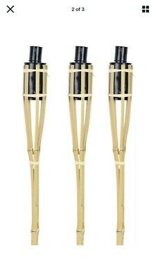 Pack Of 3 - 2ft Outdoor Garden Bamboo Torch Lantern Oil Paraffin Lighting Burner • 11.49£
