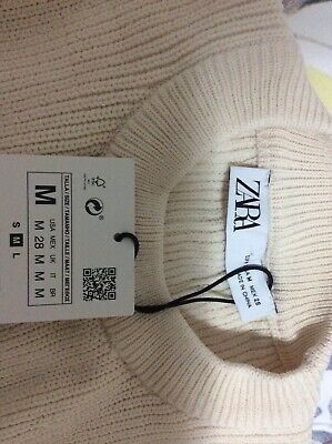AU30 • Buy Zara Woman Balloon Shoulder White Knit Swear Size M NWT