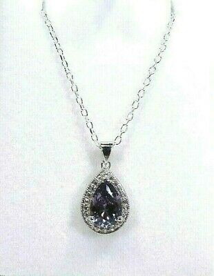 AU149.99 • Buy 2.60ct Created Colour Change Alexandrite,Cubic Zorconia Sterling Silver Necklace