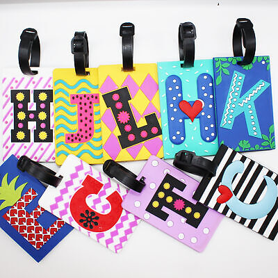 £3.49 • Buy Name Initial Letters Fashion Luggage Tags Holiday Suitcase Labels Travel Bag ID