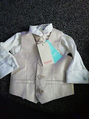 Monsoon Baby Shirt, Tie And Waist Cost. Bsby Boy 6-12months. • 5£