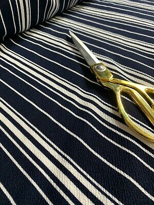 50  Wide Ponte Roma Navy Blue And White Stripes Pattern Dress Craft Fabric  • 6.45£