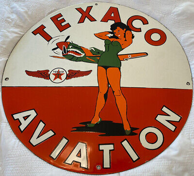 $ CDN1065.39 • Buy Vintage 20  Texaco Pin Up Porcelain Sign, Wow! Gas Station Pump Plate, Motor Oil