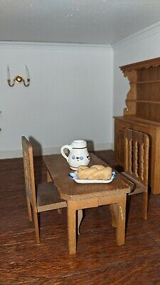 Dolls House Furniture, Kitchen Table And Two Chairs • 9£