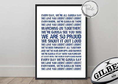RUGBY LEAGUE Song Chant - LEEDS RHINOS, Marching On Wall Art Print Gift Unframed • 5.50£
