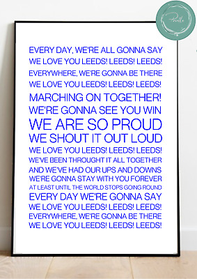 RUGBY LEAGUE Song Chant LEEDS RHINOS Marching On Wall Art Print Gift Unframed • 5.95£