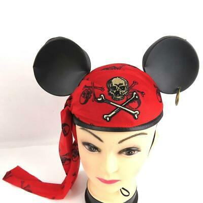 Disney Pirate Mickey Ears Hat Cap Adult Size Red Sash Halloween Costume • 9.29£