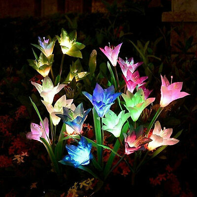 4 LED Solar Power Lily Flower Stake Lights Outdoor Garden Path Luminous Lamps UK • 4.69£