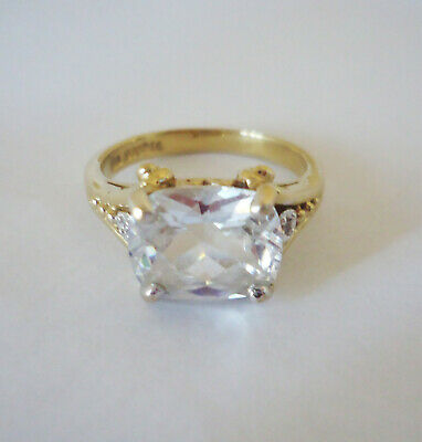 $ CDN12 • Buy Lia Sophia Gold Tone Ring W/ Large Clear Faceted Crystal Size 11