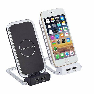 AU20.99 • Buy 10W Qi Wireless Charger 2 USB Hub Charging Stand Station Dock For Iphone Samsung