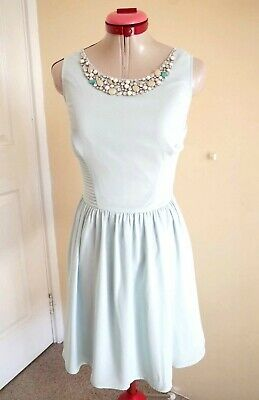 AU9.95 • Buy NEW LOOK Green DRESS Size 14 Beaded Cocktail Evening Party Fit & Flare Retro 50s