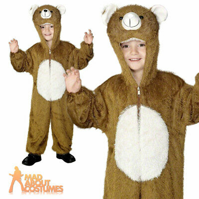 Kids Plush Bear Costume Jumpsuit Animal Book Week Day Fancy Dress Age 7-9 • 12.49£