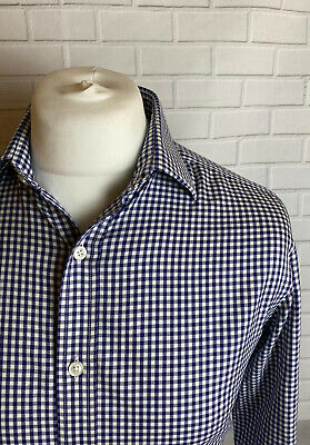T.M. Lewin Shirt Navy Check 15.5  - 33  Slim Fit NON IRON Double Cuff  • 9.99£