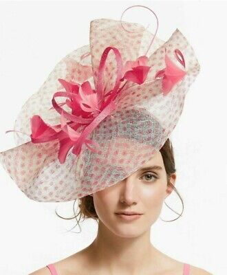 John Lewis Karen Sheer Pleat Disc Fascinator, Hat Pink/Ivory Wedding & Races  • 24.99£