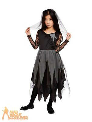Kids Girls Graveyard Corpse Bride Costume Halloween Zombie Fancy Dress Outfit • 12.99£