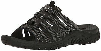 Skechers Womens Reggae Repetition Leather Open Toe Casual Slide, Black, Size 8.0 • 25.99£