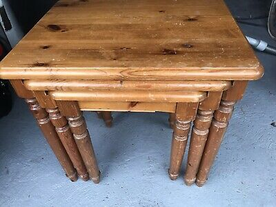 £29 • Buy Ducal Victoria Solid Pine Nest Of 3 Tables Needing A Repair & Renovation
