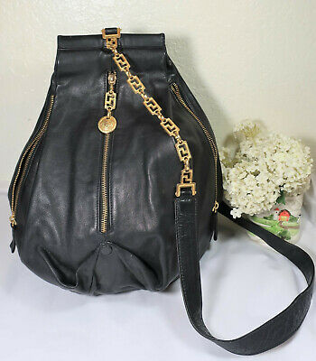 AU986.97 • Buy Vintage GIANNI VERSACE Black Lambskin SunFace Sling Back Bag Backpack