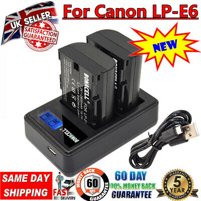 2X LP-E6 Battery + LCD DUAL Charger For CanonEOS 80D 70D 7D 60D Mark III LC-E6E • 17.49£