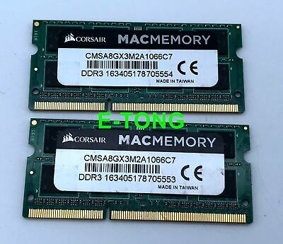 $ CDN40.96 • Buy MAC MEMORY 8GB CORSAIR  2x4GB DDR3-1066 CMSA8GX3M2A1066C7 SODIMM 204p Laptop RAM