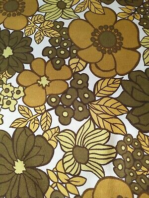 VINTAGE St Michael 70s Yellow Mustard Green Curtain Fabric FLOWER POWER 57 X 66  • 24.99£
