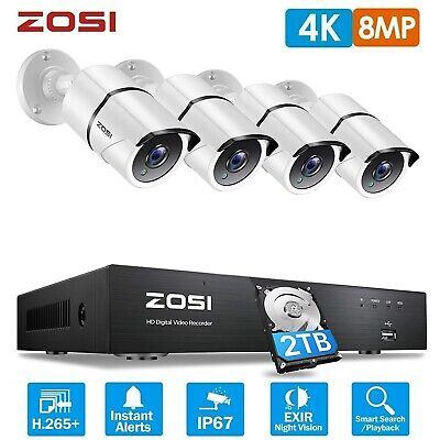 £269.99 • Buy ZOSI 4K CCTV System 8MP Camera Ultra HD 8CH DVR 2TB Home Security Kit Outdoor