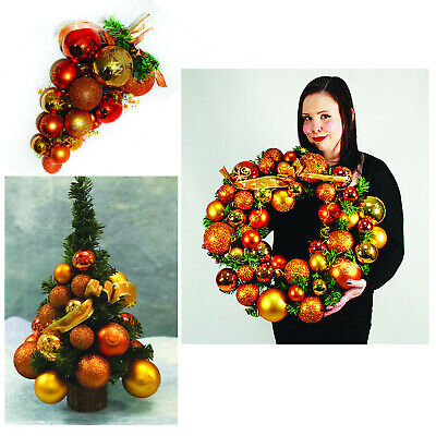 Christmas Decorations Pine Copper Gold Cluster Wreath Luxury Table Top Tree  • 22.99£